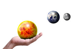 The Sun The Earth The Moon. The Sun ball The Earth ball The Moon ball Royalty Free Stock Photos