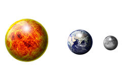 The Sun The Earth The Moon. The Sun ball The Earth ball The Moon ball Royalty Free Stock Images