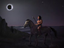 Sun Eater - Digital Painting. Surreal digital painting of a native american man on horseback observing a solar eclipse Stock Photos