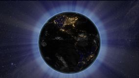 Sun eclipse from space by Earth stock illustration