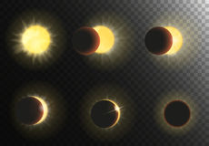 Sun eclipse vector illustration. Different phases of solar eclipse set. Sun eclipse vector illustration. Different phases of solar eclipse set Stock Photography