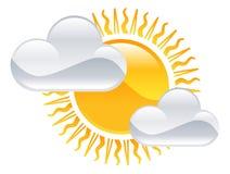 Sun ed icona delle nuvole Fotografia Stock Libera da Diritti