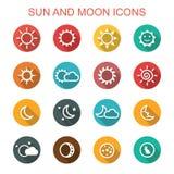 Sun ed icone lunghe dell'ombra della luna Immagini Stock