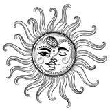 Sun ed illustrazione dell'annata della luna Immagini Stock