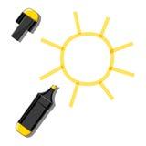 Sun ed indicatore giallo Immagine Stock