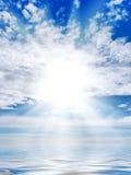 Sun ed onda Fotografia Stock Libera da Diritti