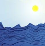 Sun ed onde del mare Immagini Stock
