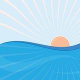 Sun ed onde del mare Immagine Stock Libera da Diritti