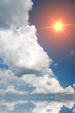 Sun in eep blue sky. Royalty Free Stock Photography