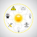 Sun and electricity tools, connected with dotted lines Stock Photo