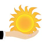 Sun em uma mão em um fundo branco Imagens de Stock