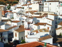 Sun embebeu telhados da terracota na Espanha Fotografia de Stock