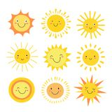 Sun emoji. Funny summer sunshine, sun baby happy morning emoticons. Cartoon sunny smiling faces vector icons