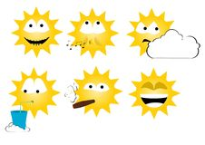 Sun emoticons Royalty Free Stock Photos