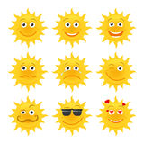 Sun emoticons vector collection Stock Image
