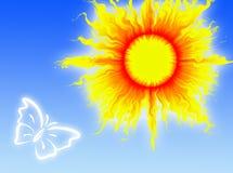 Sun en el cielo stock de ilustración