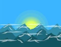 Sun en el diseño plano de las montañas Imagen de archivo libre de regalías