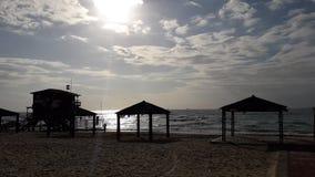 Sun en el mar - Ashdod fotografía de archivo