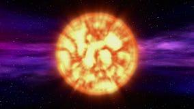 Sun en fondo de la nebulosa del espacio ilustración del vector