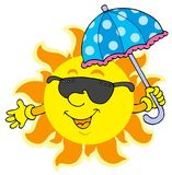 Sun en gafas de sol con el paraguas Fotografía de archivo
