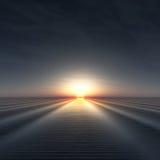 Sun en horizonte sobre el agua ondulada libre illustration