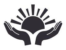 Sun en icono de las palmas Imagen de archivo