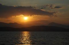 Sun en la puesta del sol Fotografía de archivo
