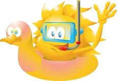 Sun en pato flotante Fotos de archivo libres de regalías