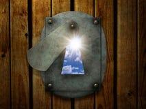Sun en rétro trou de la serrure Image libre de droits
