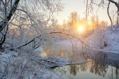 Sun&en x27; s rays i en frostig morgon på floden Royaltyfri Foto