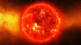 Sun en univers ou espace, soleil et galaxie dans une nébuleuse opacifient Images libres de droits
