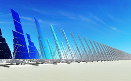 Sun energy #1. 3D render - futuristic solar power plant on concrete platform; azure sky Stock Photography