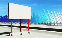 Sun energy #2. 3D render - futuristic solar power plant on concrete platform. Red billboard (copyspace Stock Photography
