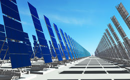 Sun energy #4. 3D render - futuristic solar power plant on concrete platform;  number of solar panels to the horizon Royalty Free Stock Photos