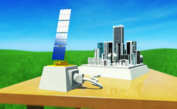 Sun energy #6. 3D render - concept:  toy city on table, plugged to solar plant. Environment - Blue sky with high clouds and green meadow. Strong DoF effect ( Royalty Free Stock Images