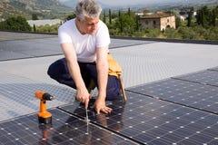 Sun energy craftsman Stock Photo