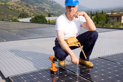 Sun energy craftsman Stock Images