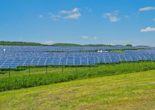 Sun energy generation. Solar Power Station at a solar park in Hesse, Germany. Image taken 2012, May 22 Stock Photography