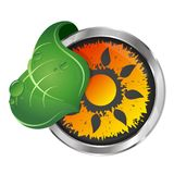 Sun and green leaf symbol. Sun energy and green leaf symbol Stock Photo