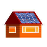 Sun energy house vector illustration. Stock Photo