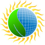 Sun energy with leaf Royalty Free Stock Images