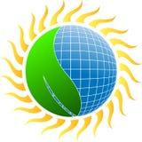 Sun energy with leaf stock illustration