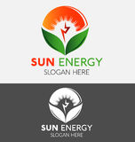Sun Energy Power Logo With Green Ecology Leaf Stock Photo