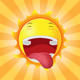 Sun enfrenta o vetor feliz da emoção dos desenhos animados Imagem de Stock
