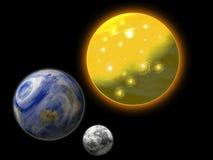 Sun, Erde und Mond Stockbild