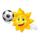 Sun está jugando al fútbol aislado en el fondo blanco Imágenes de archivo libres de regalías