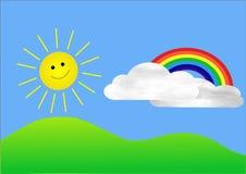Sun et arc-en-ciel Photos stock