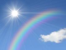 Sun et arc-en-ciel Photographie stock libre de droits