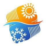 Sun et climatisation de flocon de neige Photos stock