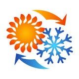 Sun et climatisation et ventilation de flocon de neige Photo stock